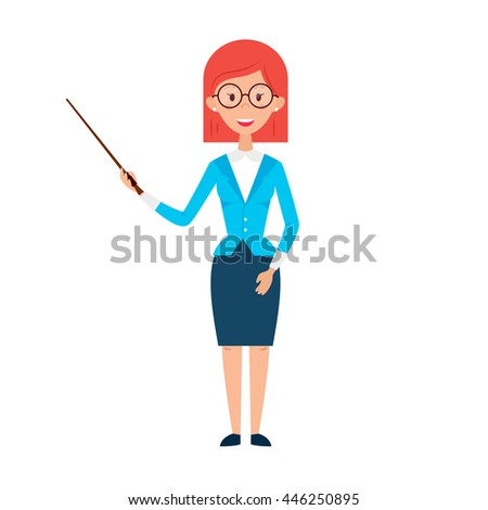 Woman Teacher with Glasses and Pointer. Flat Style Vector Illustration of People Character isolated over White. - stock vector