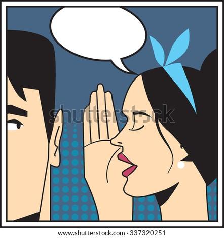 Woman telling secrets to men in pop art style vector illustration. Pop art concept. Bubble talk. Bubble speech. Pop art comic. Pop art woman. Pop art illustration. - stock vector