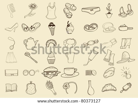 Woman things, seamless. beige - stock vector