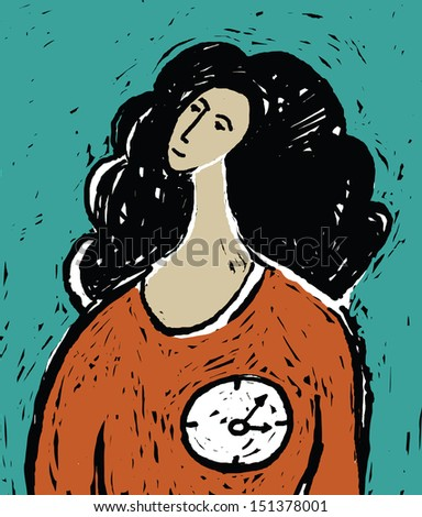 Woman time age Young unrecognizable woman with clock in the heart. Color vector illustration. - stock vector