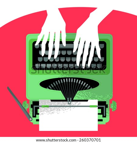 Woman typing on a vintage typewriter. Vector illustration - stock vector
