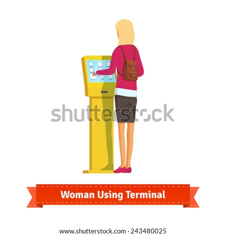 Woman using electronic self-service terminal. Flat style illustration.  - stock vector