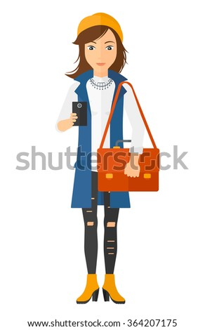 Woman using smartphone. - stock vector