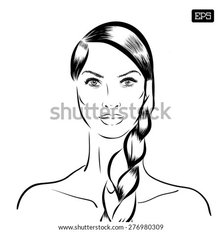 Woman vector portrait on a background. EPS - stock vector