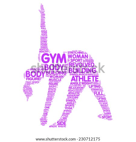 woman vector silhouette - gym concept tag cloud - stock vector