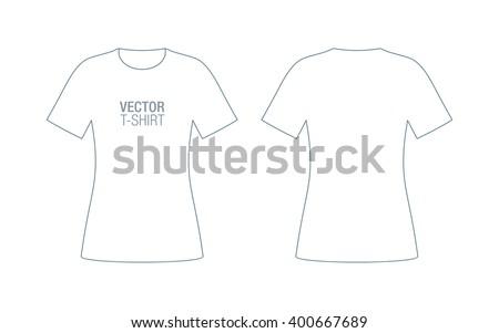 Woman vector T-shirt. Girls short sleeve T-shirt template. - stock vector