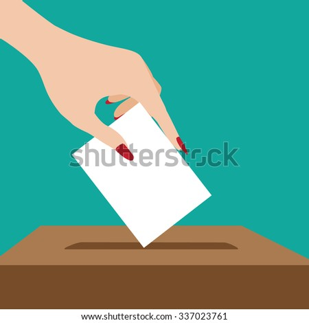 Woman voting flat design. EPS 10 vector illustration, grouped for easy editing.  - stock vector