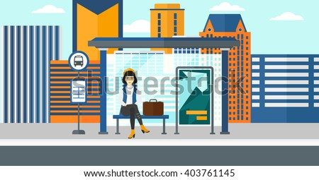 Woman waiting for bus. - stock vector
