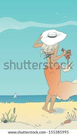 Woman walking along the beach - stock vector