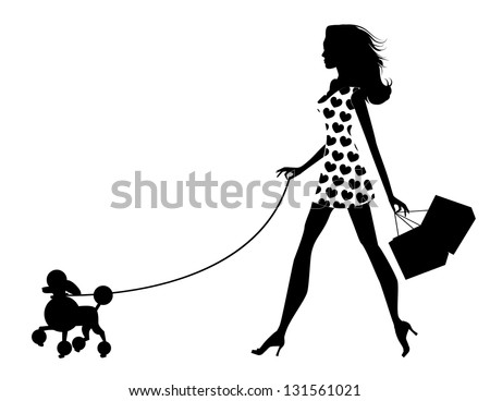 Woman Walking Dog Silhouette. EPS 8 vector, grouped for easy editing. No open shapes or paths. - stock vector