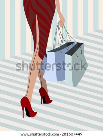 woman walking down with purchase illustration - stock vector