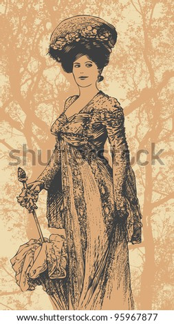 woman walking in the 19 th century and  big tree  background. vertical banner.  retro style. vector illustration - stock vector