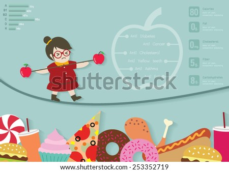 Woman walking on rope and keep balance with apples stick vector cartoon. - stock vector