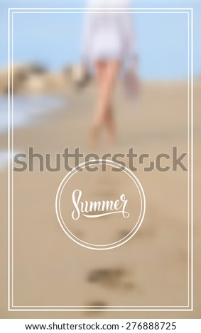 Woman walking on sand beach leaving footprints in the sand. Summer logo. Blurred background. - stock vector