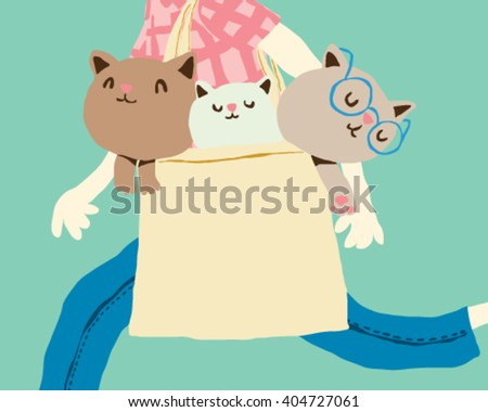 Woman walking with kittens in a bag - style vector illustration isolated on light blue background - Sign  - stock vector