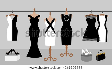Woman wardrobe accessories set. collection of different black and white dresses on a hanger and mannequin, lady purse, high heel shoes. fashion boutique. vector art illustration isolated on background - stock vector