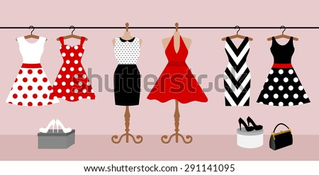 Woman wardrobe accessories set. collection of different red, black and white dresses on hanger and mannequin, lady purse, high heel shoes. fashion boutique. vector illustration, isolated on background - stock vector