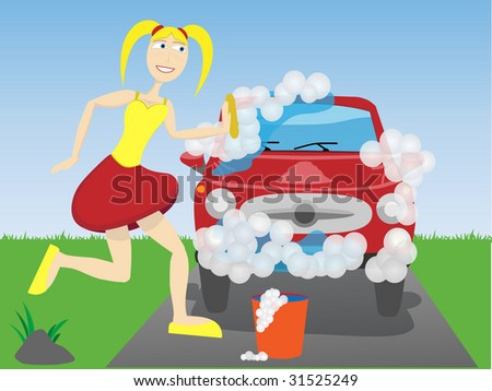 Woman washing car covered in water and bubbles - stock vector