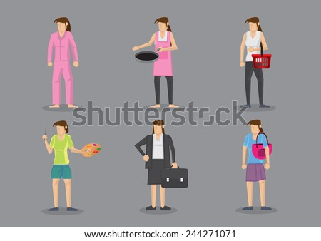 Woman wearing different outfits for different roles. Set of six vector illustration in cartoon style isolated on grey background. - stock vector