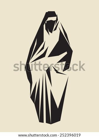 woman wearing traditional chador or burqa - stock vector