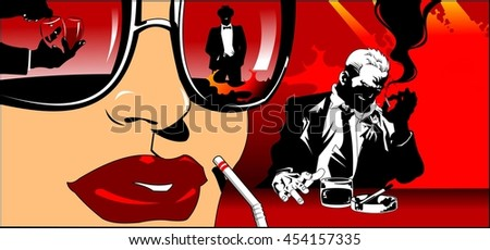 woman with a cocktail in hand flirting with a man in a restaurant - stock vector