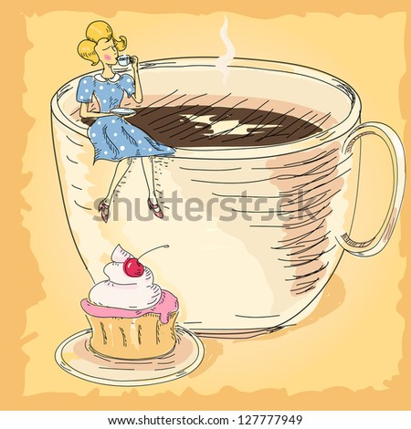 Woman with a cup of coffee and cake - stock vector
