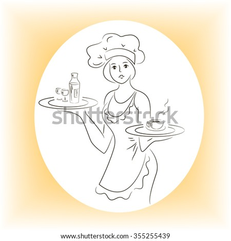 Woman with a full tray
