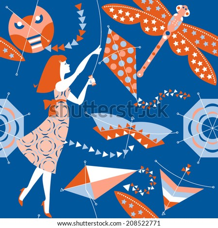 Woman with a kites. Seamless background pattern. Vector illustration - stock vector