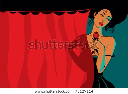 Woman with a rose on the red curtain - stock vector