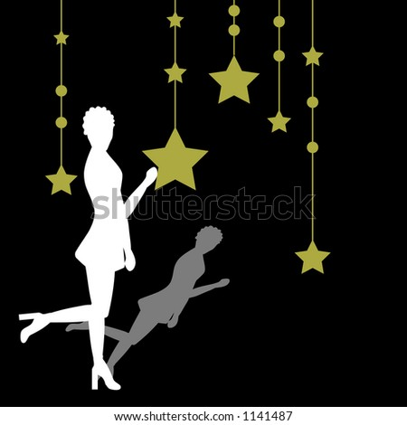 Woman with a star background - stock vector