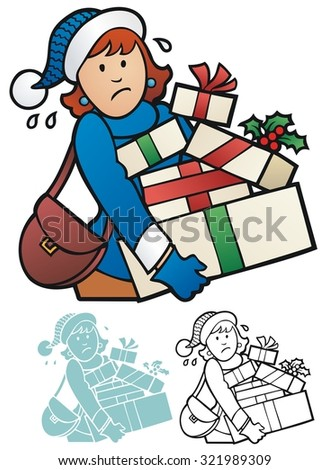 Woman with an armload of wrapped presents - stock vector