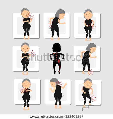 woman with backache pain colored in red isolated on gray background illustration vector - stock vector