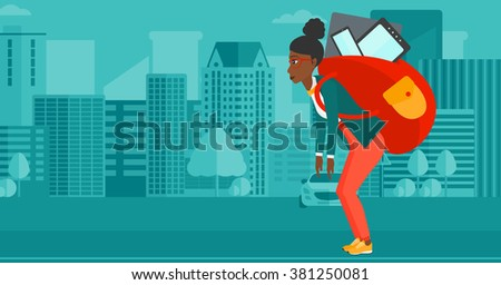 Woman with backpack full of devices. - stock vector