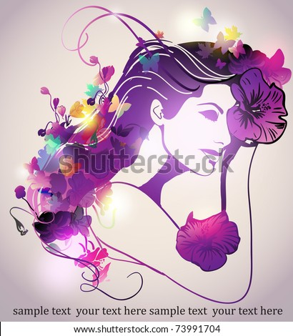 Woman with butterfly - stock vector