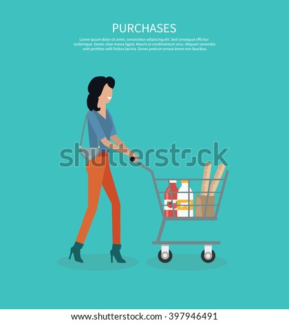 Woman with cart purchases design. Shop cart customer woman buy purchase, trolley with purchase, consumer with goods, food product in cart, buyer woman, shopper vector illustration - stock vector