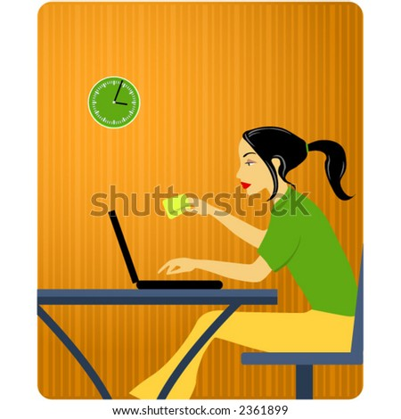 Woman with credit card - stock vector