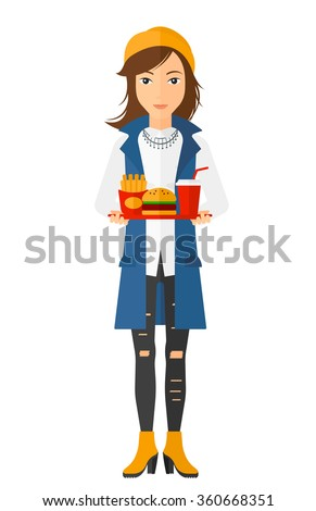 Woman with fast food. - stock vector
