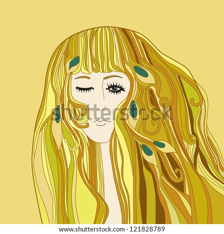 Woman with feathers in hair. Vector illustration - stock vector