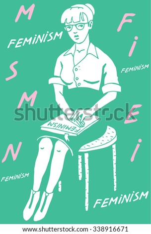 Woman with Feminist book in green background with text. - stock vector