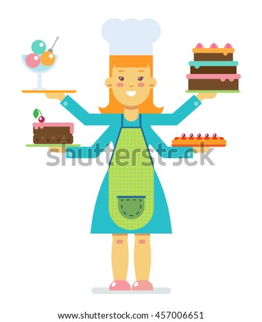Woman with food - stock vector