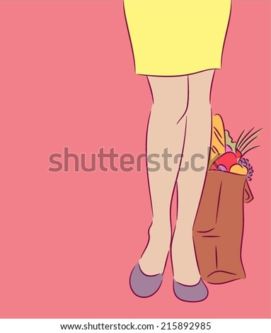 Woman with grocery bag at his feet - stock vector