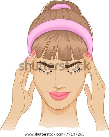 Woman with headache - stock vector