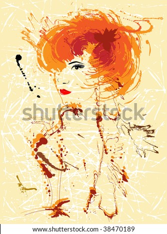 woman with ink splats vector illustration - stock vector