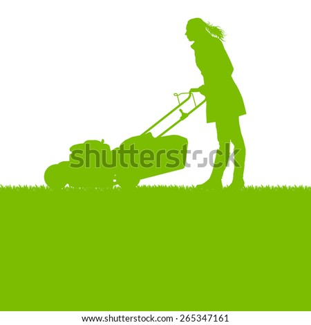 Woman with lawn mover cutting grass vector background ecology concept - stock vector