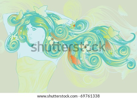 Woman with long flowing hair in Spring colors - stock vector