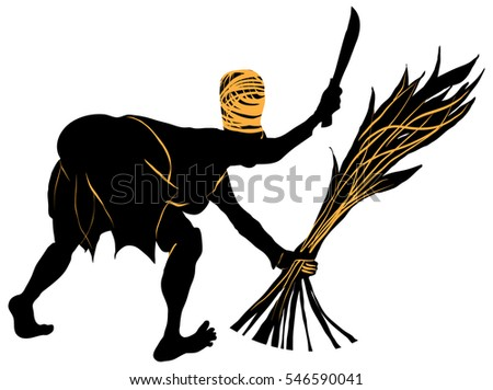Woman with machete and a sheaf of sugar-cane