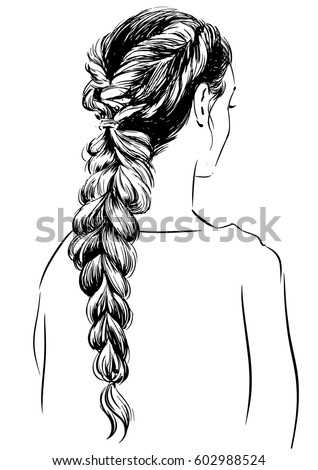 hairstyle coloring pages - front braided hair coloring pages