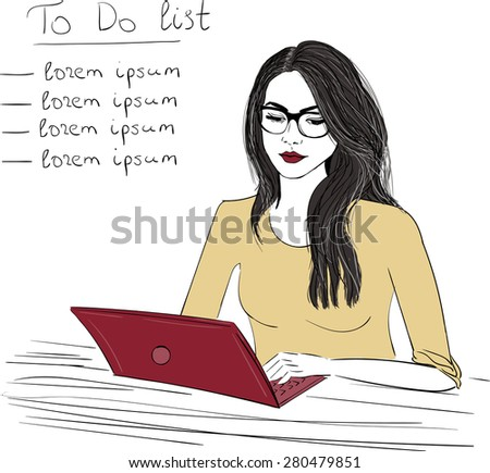 Woman with notebook sketch illustration  - stock vector