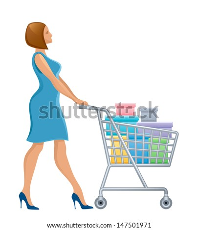Woman with shopping cart - stock vector