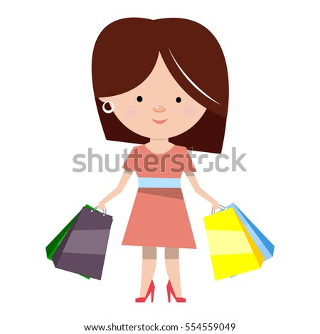 Woman with shopping. Cartoon character in flat style. Vector illustration isolated on white background